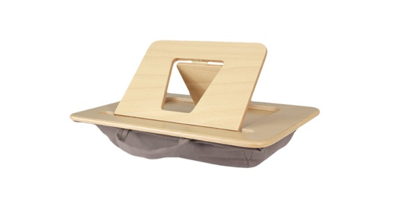 support tablette et livre en bois