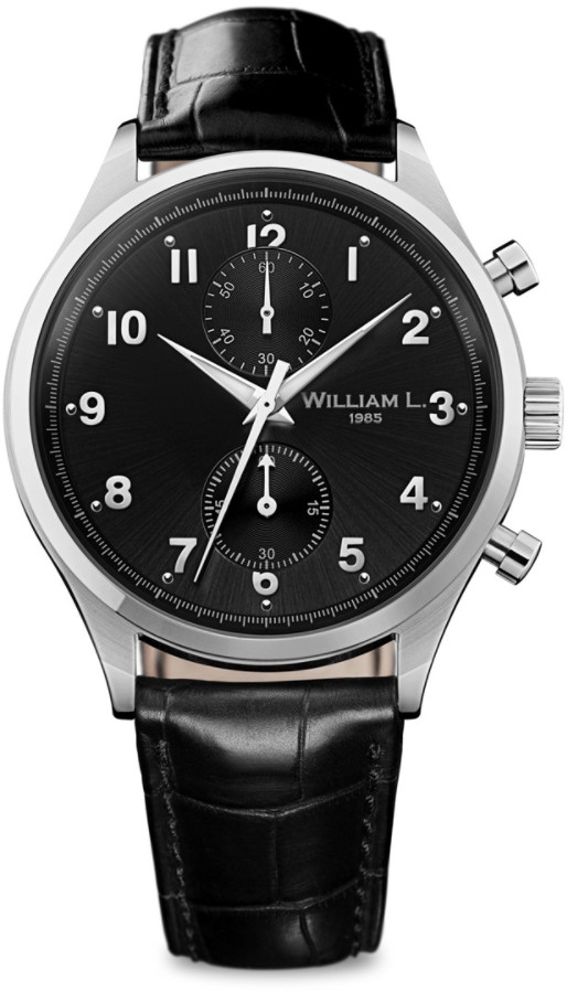 william l 1985 montre cuir vintage style small chronograph noir